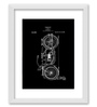 Gabambo Paper 12 x 1 x 14.5 Inch Vintage Motorcycle Patent Blueprint Wood Finish Framed Poster