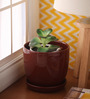 Gaia Brown Glazed Ceramic 6 x 6.5 Inch Table Top Planter with Plate