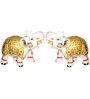 Gautam Art & Craft Gold Plated Makrana Marble Auspicious Meenakari Elephant Showpieces - Set of 2
