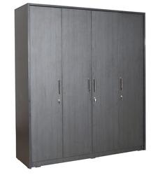 Geneva Four Door Wardrobe in Black Colour by Rawat