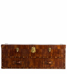 Genuine Leather Storage Trunk in Brown Colour by Three Sixty Degree