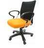 Geneva Desktop Chrome Office Ergonomic Chair in Black & Orange Colour by Chromecraft