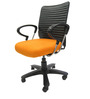 Geneva Desktop Chrome Office Ergonomic Chair in Orange Colour by Chromecraft