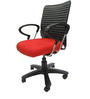 Geneva Desktop Chrome Office Ergonomic Chair in Red Colour by Chromecraft