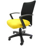 Geneva Desktop Marina Office Ergonomic Chair in Black & Yellow Colour by Chromecraft