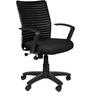 Geneva Desktop Ribs Office Chair in Black Colour by Chromecraft