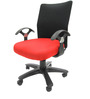 Geneva Desktop T Black Office Ergonomic Chair in Red Colour by Chromecraft