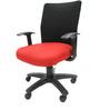 Geneva Desktop WW Black Office Ergonomic Chair in Red Colour by Chromecraft