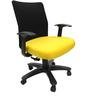 Geneva Desktop WW Black Office Ergonomic Chair in Yellow Colour by Chromecraft