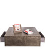 Genuine Leather Centre Table in Grey Colour by ThreeSixtyDegree