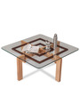 Gibson Center Table with Glass Top in Natural Wood Finish by Durian