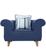 Gilberto One Seater Sofa with Throw Cushions in Teal Blue Colour by CasaCraft