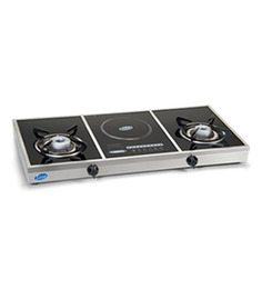Glen Toughened Glass 2-burner And Induction Base Cooktop (Model: GL1037 GT)