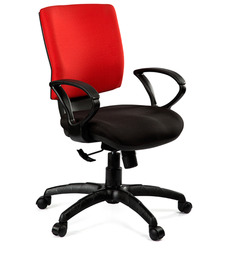 Global Medium Back Ergonomic Chair in Red & Black Colour by Debono
