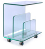Glass Top Side Table cum Magazine Rack in Clear Glass Colour by Durian
