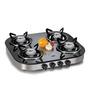 Glen GL1046 GT AI Toughened Glass 4-burner Built-in Auto Ignition Cooktop