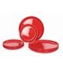 Gluman Red Plastic Round 12-piece Dinner Plate Set