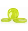 Gluman Microwave Safe 12 Pcs Square Dinner Plate Set - Green
