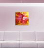 Go Hooked MDF 18 x 18 Inch 4-Panel Colourful Hibiscus Wall Decor