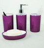 Go Hooked Purple Acrylic 4-piece Bathroom Accessories Set (Model: G611-PUR)