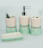 Go Hooked Pink and Teal Ceramic 4-piece Bathroom Accessories Set (Model: G539-B)