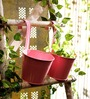Go Hooked Pink Round Wall Planter - Set of Two