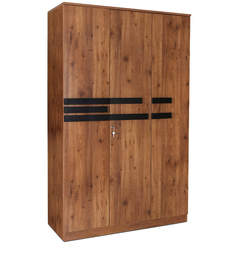 Grafton Three Door Wardrobe in Natural Pine & Black Finish by Crystal Furnitech