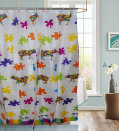 Gran GNNSC2 Multicolor Polyester Shower Curtain with 12 Hooks