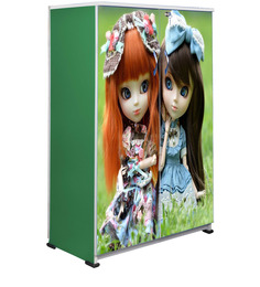 Green Dolls Kids Wardrobe in Multi Colour by BigSmile Furniture