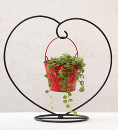 Green Gardenia Red Iron and Metal Heart Table Top Stand with Bucket Planter