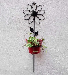 Green Gardenia Sun Flower Wall Bracket With Red Color Bucket
