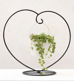 Green Gardenia White Iron and Metal Heart Table Top Stand with Metal Bucket Planter
