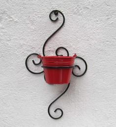 Green Gardenia Wrought Iron S Wall Bracket With Red Color Metal Bucket