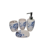 Gran Blue & White Ceramic Bath Accessories - Set of 4