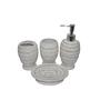 Gran White and Grey Ceramic Bath Accessories - Set of 4