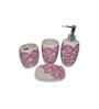 Gran White and Pink Ceramic Bath Accessories - Set of 4