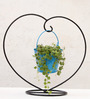 Green Gardenia Blue Iron and Metal Heart Table Top Stand with Bucket Planter