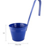 Green Gardenia Blue Metal Railing Bucket with Large Handle Planter