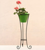 Green Gardenia Green Metal and Iron Large Pot Stand with Pot