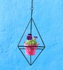 Green Gardenia Iron Hanging Triangle Stand With Metal Planter-Pink
