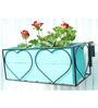 Green Gardenia Iron Heart design railing planter with Wooden Box-Light Blue