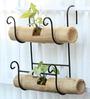 Green Gardenia Iron Railing Bamboo holder with Bamboo Pot Double