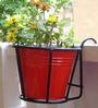 Green Gardenia Iron Railing Basket with Red Metal Pot