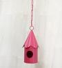 Green Gardenia Metal Hanging Bird House-Pink