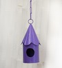 Green Gardenia Metal Hanging Bird House-Purple
