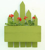 Green Gardenia Wood box Wall Planter-Green