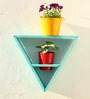 Green Gardenia Wooden Triangle Wall Stand with 2 Metal Pots-Light Blue