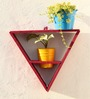 Green Gardenia Wooden Triangle Wall Stand with 2 Metal Pots-Pink