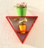 Green Gardenia Wooden Triangle Wall Stand with 2 Metal Pots-Red
