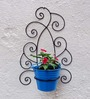 Green Gardenia Wrought Iron Wall Bracket With Light Blue Color Metal Bucket